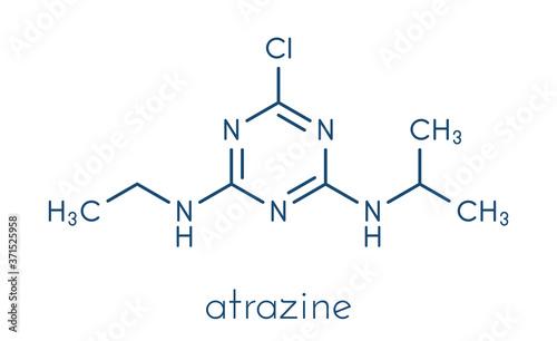 Atrazine broadleaf herbicide molecule. Skeletal formula. Billede på lærred