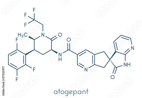 Atogepant migraine drug molecule (CGRP inhibitor). Skeletal formula.  Векторный объект Stock   Adobe Stock