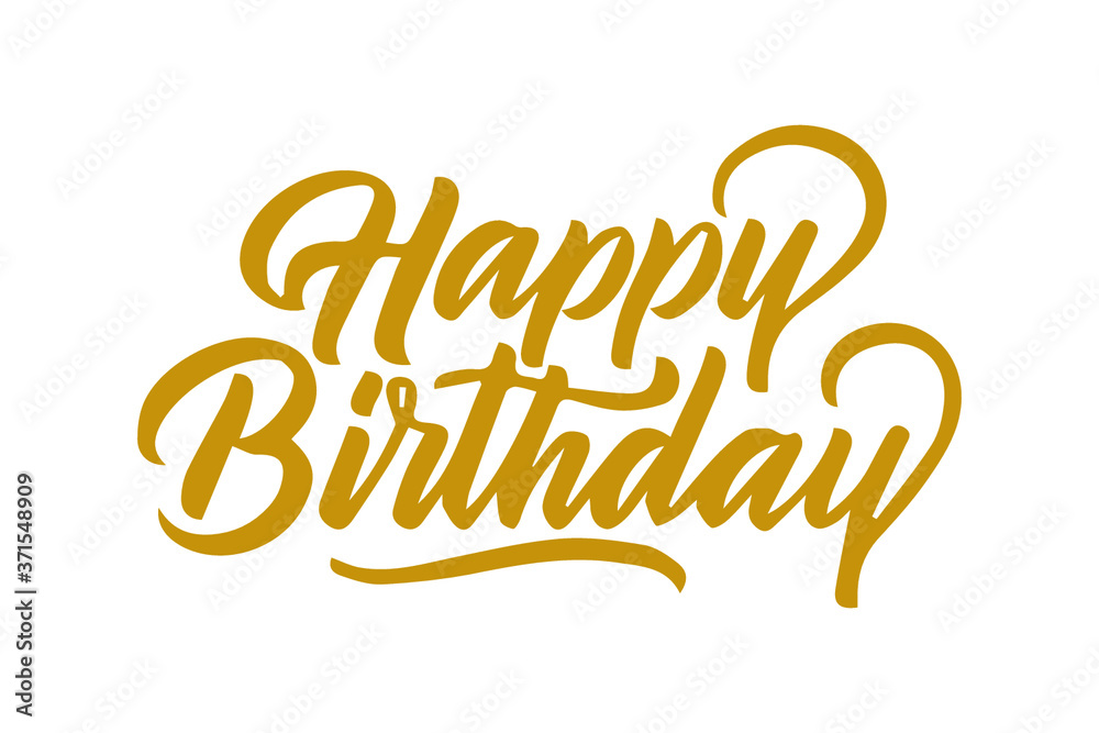 Fototapeta happy birthday card, text or lettering. Vector script and handwritten typography. vintage style word for note, sign, banner. Isolated.