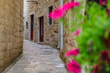 Fototapeta Uliczki - Picturesque streets of the medieval Old town with blurred flowers in the foreground in Kotor, Montenegro in the Balkans