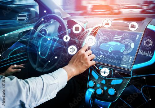 Fotografia Driverless car interior with futuristic dashboard for autonomous control system