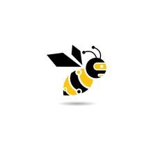 Bee Robot Logo Vector Icon Illustration