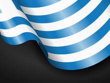 Waving Greece Flag On Black