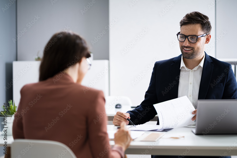 Fototapeta Job Interview. Business Manager Talking To Recruiter