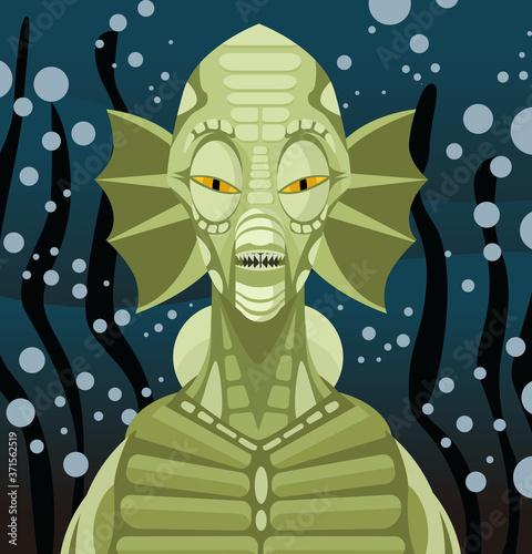 Canvastavla underwater sea reptilian green monster