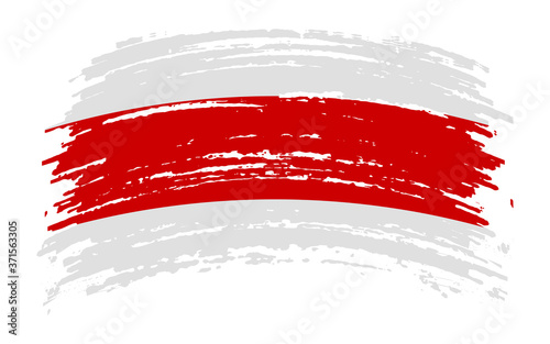 Leinwand Poster White-red-white flag historical symbol of Belarusians in grunge brush stroke, ve