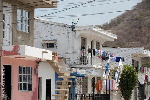 Fototapeta Cartagena Columbia apartments and homes poverty