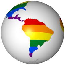 A Globe With A Rainbow Flag