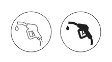 Gas Gun With Drop Icons In Outlines And Filled Silhouette, Graphic