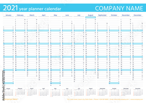 Fototapeta 2021 year planner calendar. Vector. Wall calender template. Week starts Sunday. Annual organizer. Schedule page. Agenda diary with 12 months in English. Business illustration in minimal design. obraz