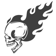 Vintage Monochrome Human Skull With Fire Flame Isolated On White Background. Hand Drawn Design Element Template For Emblem, Print, Cover, Poster. Vector Illustration.