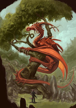 A Fox Warrior With A Big Broadsword Observes A Huge Red Dragon Perched On A Tree In A Fantastic Landscape In The Wilderness