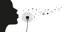 Girl Blows Dandelion With Heart Silhouette Vector Illustration EPS10