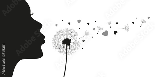 Fotografia girl blows dandelion with heart silhouette vector illustration EPS10