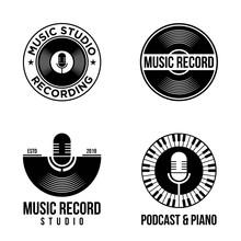 Set Vinyl Record Logo Template. Music Icon Or Emblem.