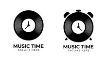 Music Time Logo Template, Vector Illustration Icon Element - Vector