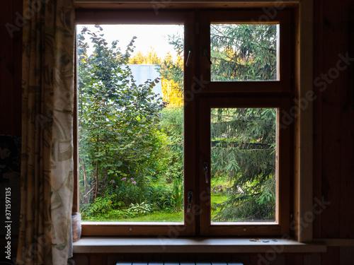Obraz na plátně view of overgrown backyard through window in summerhouse at summer sunset