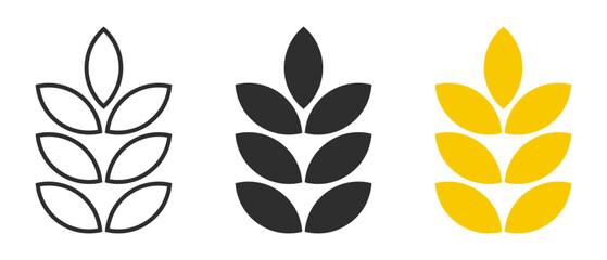 Gluten free vector icon set. Wheat grains isolated on white background. No gluten symbol vector.