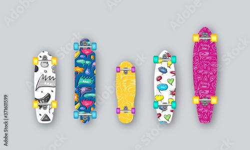 Fototapeta Set of prints on longboard in hand-drawn style