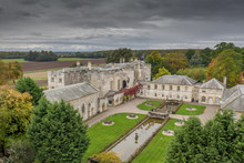Hazlewood Castle, North Yorkshire Historic Castle, Chapel And Hotel. Drone Photograph In The Summer.