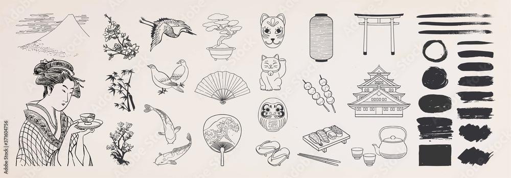 Fototapeta Japanese doodle set. Japanese traditional design elements. Hand drawn vactor illustration.