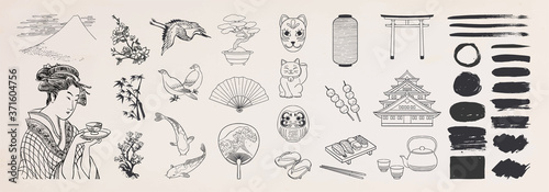 Japanese doodle set. Japanese traditional design elements. Hand drawn vactor illustration.
