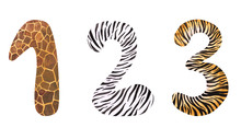 Watercolor Set Of Safari Style Numbers 1, 2, 3 Isolated On A White Background. Hand-drawn Animal Print Symbols For Your Design. Giraffe, Zebra, And Tiger Numbers For African Parties And Other Events.
