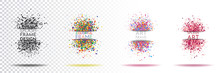 Vector Illustration. Splatter Labels With Shadows And Space For Text. Colored Abstract Frame For Text. Set Splash Banners. Element For Design Flyers, Business Cards, Gift Cards, Brochure.