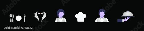 Fotografie, Obraz set of cartoon avatar restaurant staff, serving platter, spoon, fork and more ve