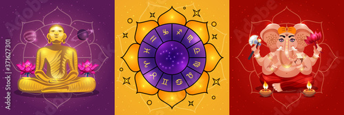 Vedic Astrology Posters Set Wallpaper Mural