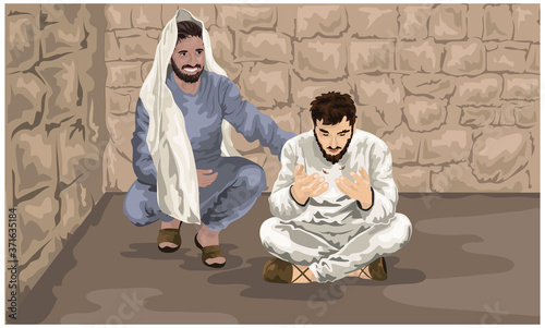 Saul's Conversion, Ananias Prays and Scales Fall From Saul's Eyes, Acts 9 Fototapet