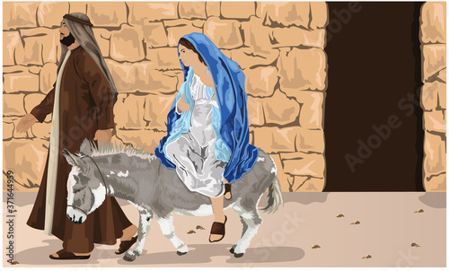 Photo Mary Riding Into Bethlehem On Donkey With Jospeh - Christmas Story