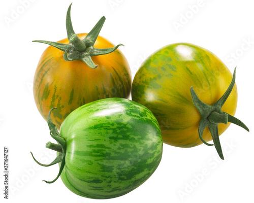 Fotografia Green Zebra heirloom tomatoes  isolated
