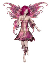 Fantasy Illustration Of A Cute And Pretty Fairy With Pink Hair, Dress And Wings, 3d Digitally Rendered Illustration