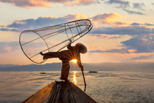 Fishermen In Inle Lake Known Also As Leg Rowers, Myanmar