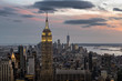 Manhattan Skyline Lighting Up At Sunset