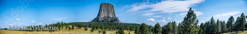 Foto panoramic of Devil's Tower National Monument in Crook County Wyoming