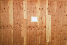 Plywood Wall With Note Masking...