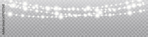 Obraz Christmas lights isolated realistic design elements. Glowing lights for Xmas Holiday cards, banners, posters, web design. - fototapety do salonu