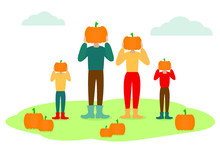 Dad, Mother And Kids Holding Pumpkins In Hands In Front Of They Heads. American And Canadian Autumn Family Tradition Of Picking Pumpkins On Patch For Carving.