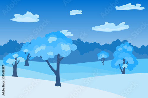 Winter day in lowland on landscape Canvas Print
