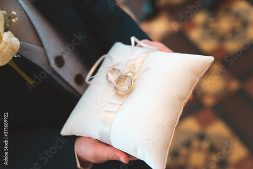 Ring bearer Paige Boy Best Man Presenting Rings on Pillow Marriage Wallpaper Mural