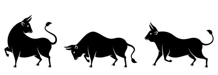 Set Bulls, Cows, Buffaloes. Stylized Silhouettes of Standing in Different Poses, Isolated on White Background