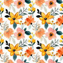 Watercolor Yellow Brown Floral Seamless Pattern