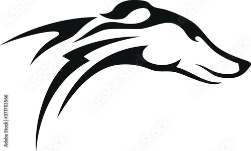 Tablou Canvas Racing Greyhound dog with Bolt tattoo vector