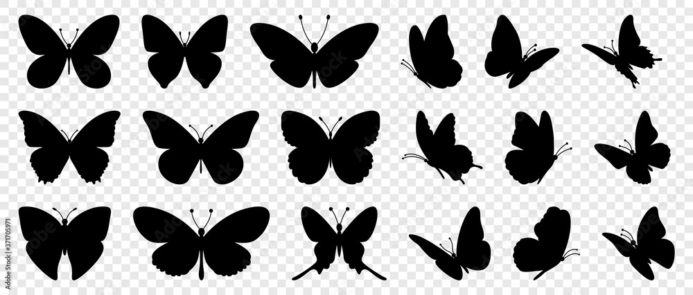 Fototapeta Flying butterflies silhouette black set isolated on transparent background