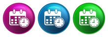 Appointment Date Calendar Icon Magic Glass Design Round Button Set Illustration