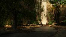 Mountain Waterfall In Autumn