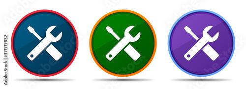 Fototapeta Tools icon silky smart flat round buton set illustration