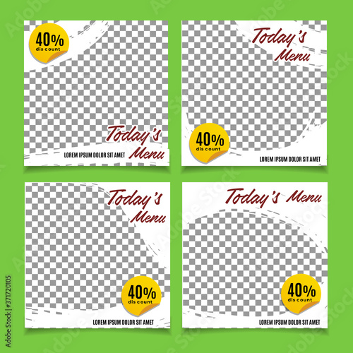 Photo Collection today's food menu vector design template for social media posts